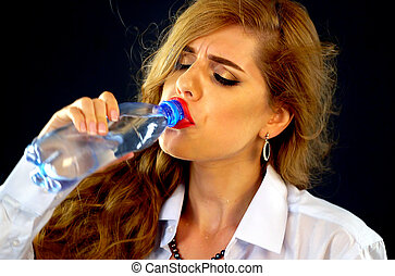 Woman drinking water from bottle . Thirsty Girl business...