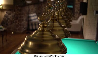Metallic lamp shades swinging above a billiard table....