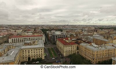 Aerial view of historical centre of Saint-Petersburg shot