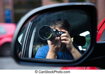 Man Sitting In Car Photographing - Private Detective Sitting...