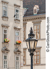 Exquisite antique lantern on the central streets of Vienna,...