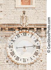 Old clock in Sibenik - Clockface of Sveti Ivan church clock...