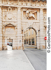 Zadar city gates - City walls and Landward Gate with Lion of...