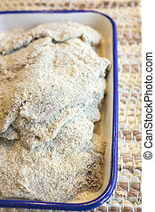 Ready to fry and prepare chicken fried steak - Breaded...