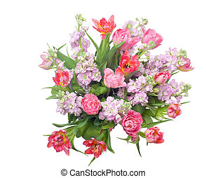 Bouquet of pink tulips with hoary stock. - Pink tulips with...