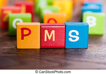 PMS Word Made With Blocks - PMS Word Made With Colorful...
