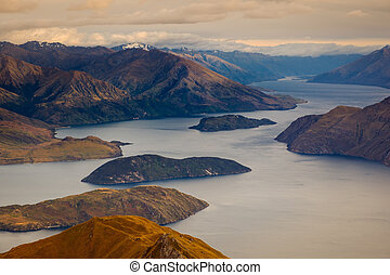 Beautiful sunrise landscape view of Lake Wanaka, New Zealand...