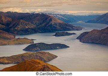 Beautiful sunrise landscape view of Lake Wanaka, New Zealand...