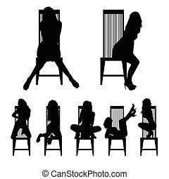 girl silhouette set on chair in various poses illustration