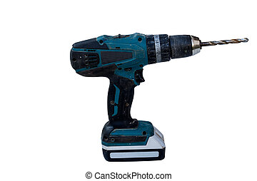 battery-powered electric drill isolate on white background...