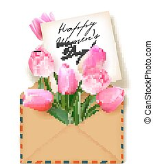 Tulips with a note in an envelope. Template for greeting card, banner, an invitation. Happy Women's Day Card. Concept spring background. Vector. The concept of flower delivery.