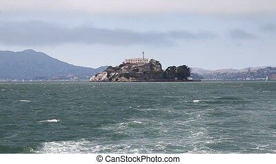 Alcatraz island San Francisco - Panoramic boat sea view of...