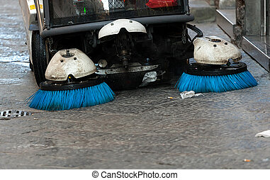 Street sweeper. Front view. - Cleaning streets of the city...