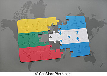 puzzle with the national flag of lithuania and honduras on a...