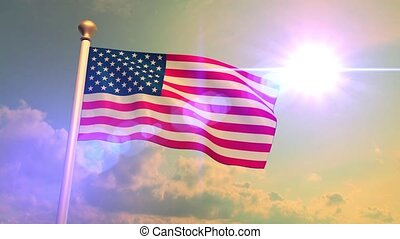 USA US American Flag Medium Shot Waving Against Blue Sky CG Flare