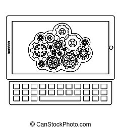 concept of maintenance service online of tablet and keyboard