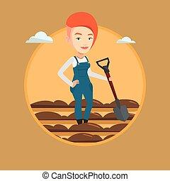 Farmer with shovel at field vector illustration. - Farmer...