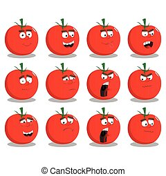 Cartoon Tomatoes set with facial expressions