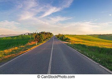 Typical Tuscany landscape and road springtime at sunset in...