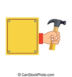 colorful silhouette plaque with hand holding hammer vector...