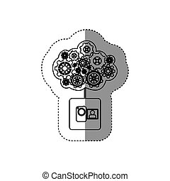 monochrome sticker with concept of maintenance service of video camera