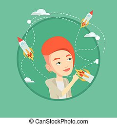 Business start up vector illustration. - Business woman...