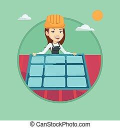 Dachdecker bilder clipart  Vektor Illustration von dachdecker, arbeitende , dach, retro ...