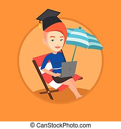 Graduate lying in chaise lounge with laptop. - Caucasian...