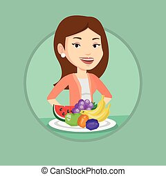 Woman with fresh fruits vector illustration.
