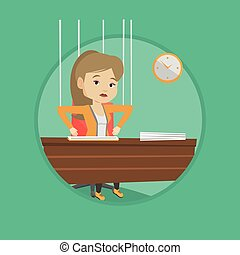 Business woman marionette on ropes working. - Woman hanging...