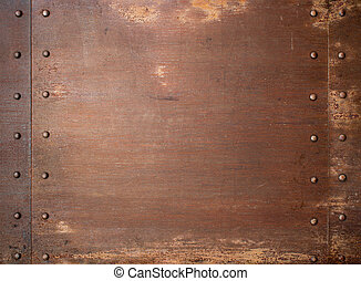 Rusty metal steam punk background with rivets