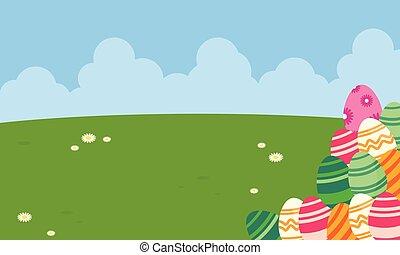 Easter egg on the hill landscape