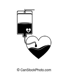 silhouette bag donate blood and heart shape vector...