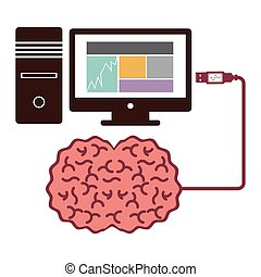 computer desktop and usb connected to brain