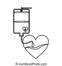 contour bag donate blood and heart shape vector illustration