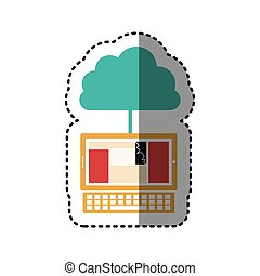 sticker cloud in cumulus shape connected to laptop vector...