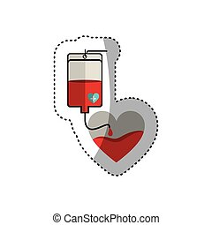 colorful sticker bag donate blood and heart shape vector...