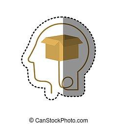 sticker silhouette profile human head with carton box
