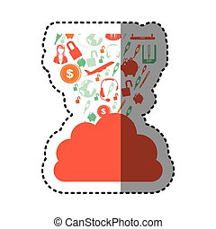 sticker orange cloud in cumulus shape with set collection...