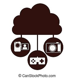 brown cloud in cumulus shape connected to tech device vector...