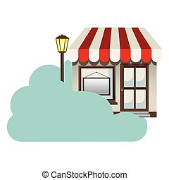 cloud in cumulus shape with store with lamp vector...
