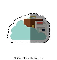 sticker cloud in cumulus shape with briefcase and document with fold