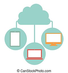 cloud in cumulus shape connected to tech device vector...