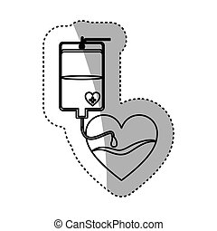contour sticker bag donate blood and heart shape vector...