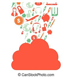 orange cloud in cumulus shape with set collection investment...