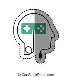 sticker silhouette profile human head with usb connector and...