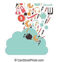 cloud in cumulus shape with set collection investment and...