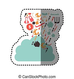 sticker cloud in cumulus shape with set collection...