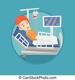 Woman lying in hospital bed vector illustration. - Woman...
