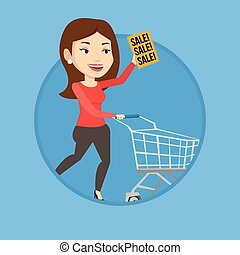 Woman running in hurry to the store on sale.